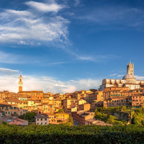 Siena town, panoramic view of ancient city in the Tuscany region of Italy, Europe.