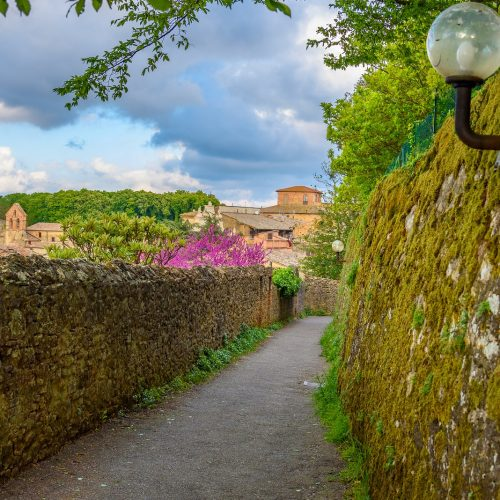 VOLTERRA ITALY - APRIL 23 2017 - View of a street of the small and famous town of Volterra Italy.